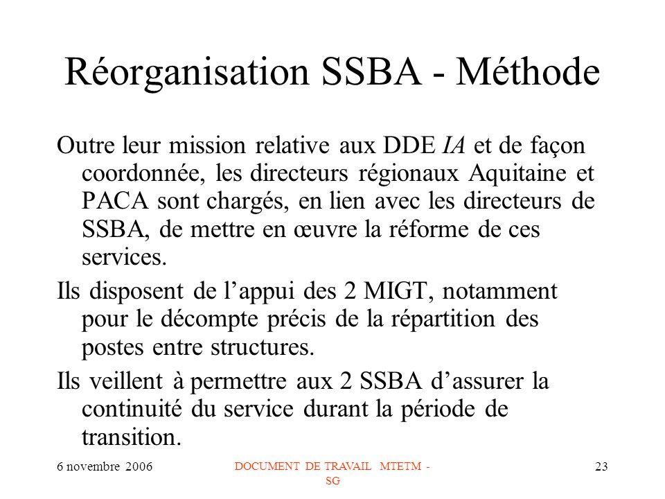 6 novembre 2006 DOCUMENT DE TRAVAIL MTETM - SG 23 Réorganisation SSBA - Méthode Outre leur mission relative aux DDE IA et de façon coordonnée, les directeurs régionaux Aquitaine et PACA sont chargés, en lien avec les directeurs de SSBA, de mettre en œuvre la réforme de ces services.
