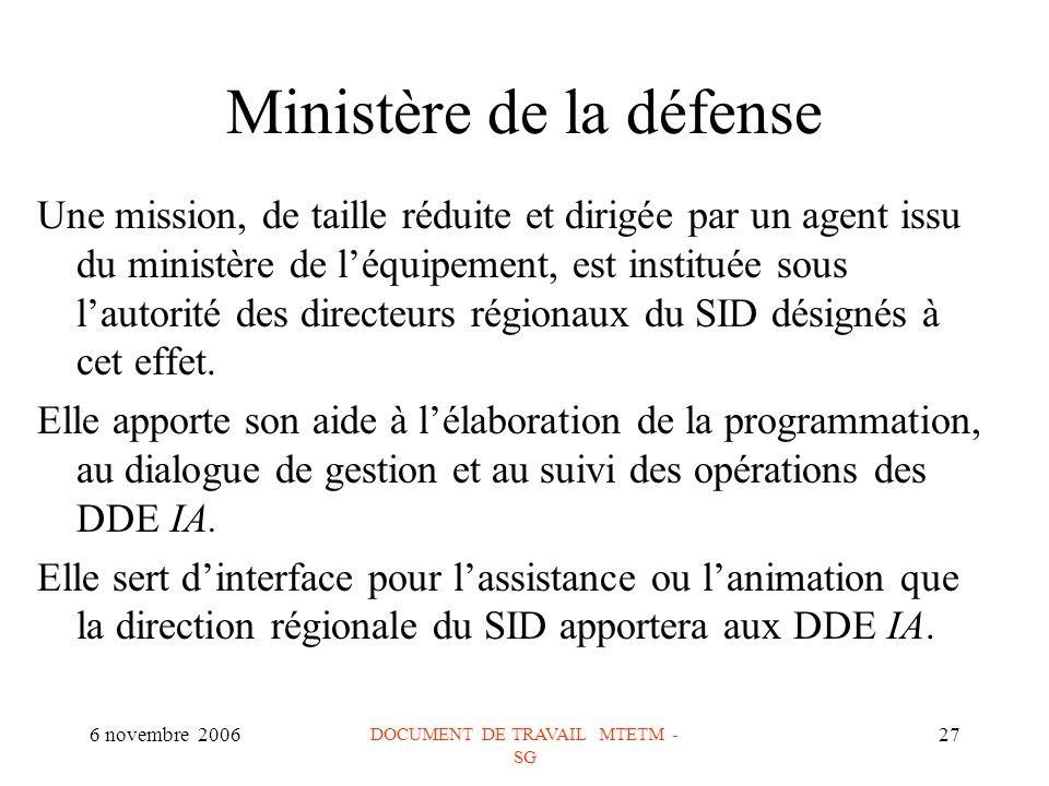 6 novembre 2006 DOCUMENT DE TRAVAIL MTETM - SG 27 Ministère de la défense Une mission, de taille réduite et dirigée par un agent issu du ministère de léquipement, est instituée sous lautorité des directeurs régionaux du SID désignés à cet effet.