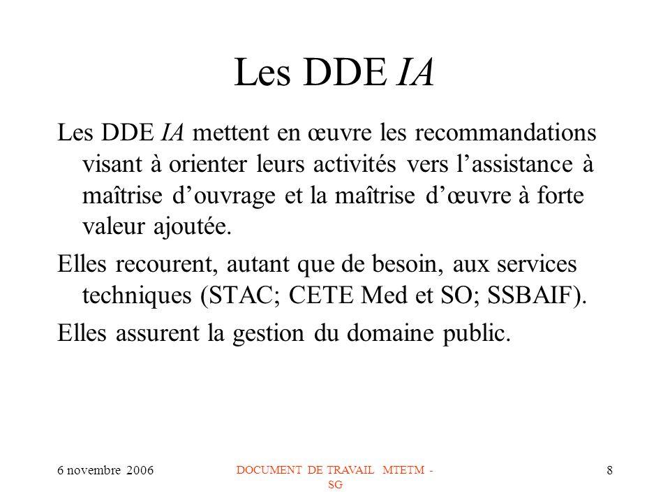 6 novembre 2006 DOCUMENT DE TRAVAIL MTETM - SG 8 Les DDE IA Les DDE IA mettent en œuvre les recommandations visant à orienter leurs activités vers lassistance à maîtrise douvrage et la maîtrise dœuvre à forte valeur ajoutée.