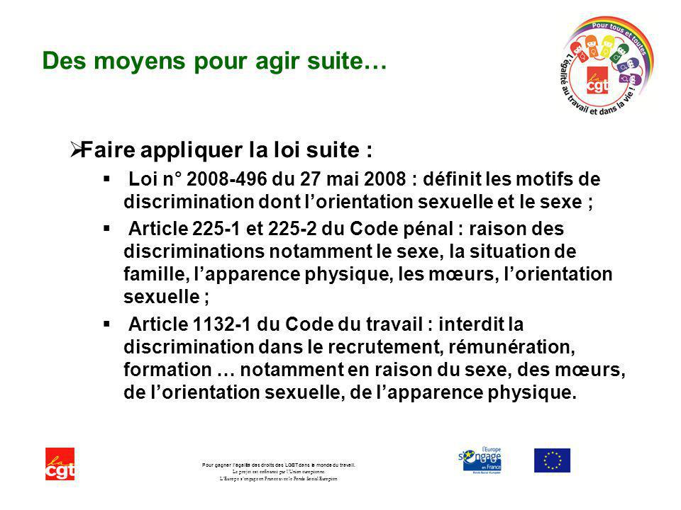 Des moyens pour agir suite… Faire appliquer la loi suite : Loi n° 2008-496 du 27 mai 2008 : définit les motifs de discrimination dont lorientation sex