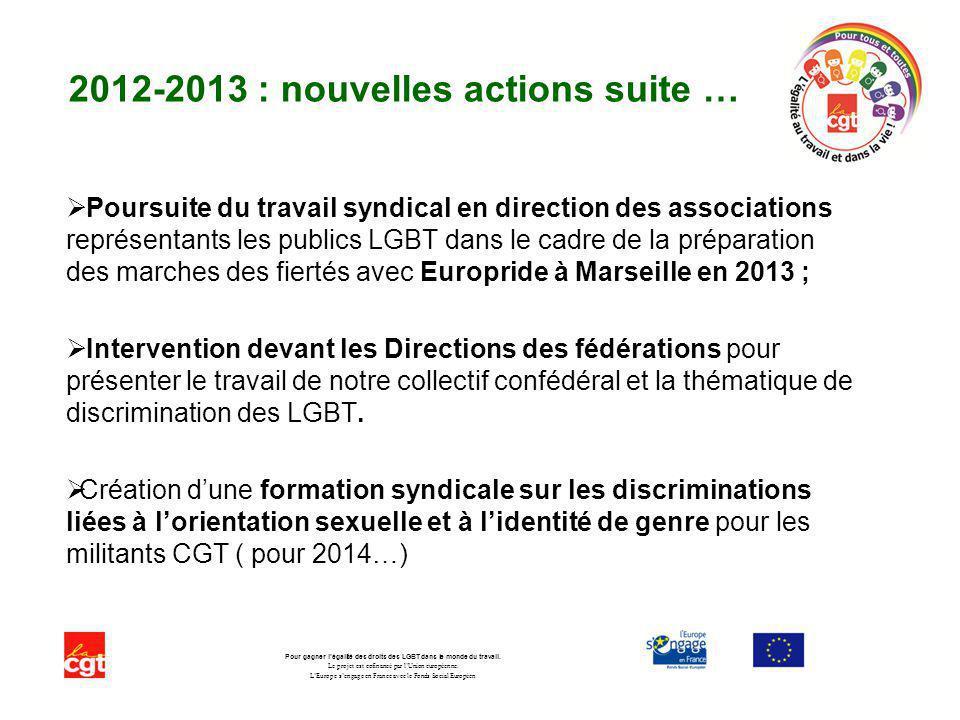 2012-2013 : nouvelles actions suite … Poursuite du travail syndical en direction des associations représentants les publics LGBT dans le cadre de la p