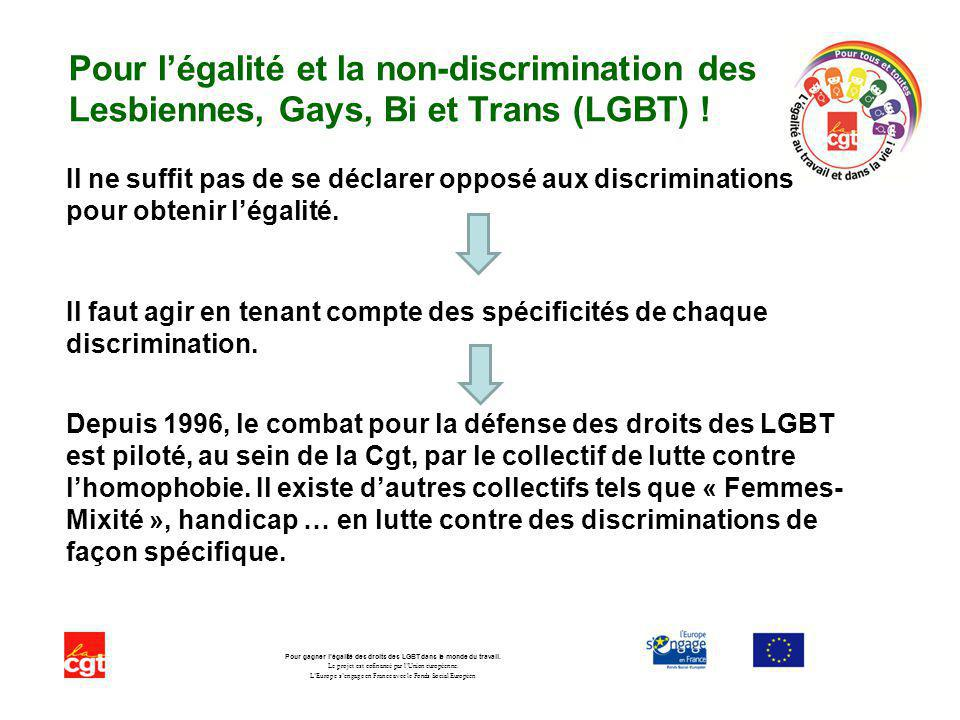 Pour légalité et la non-discrimination des Lesbiennes, Gays, Bi et Trans (LGBT) .