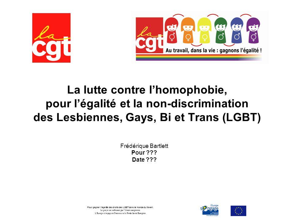 La lutte contre lhomophobie, pour légalité et la non-discrimination des Lesbiennes, Gays, Bi et Trans (LGBT) Frédérique Bartlett Pour ??.