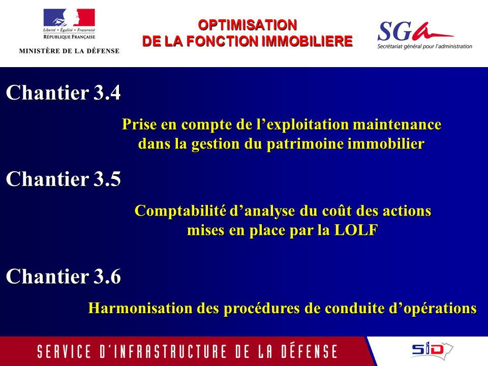 OPTIMISATION DE LA FONCTION IMMOBILIERE Chantier 3.4 Prise en compte de lexploitation maintenance dans la gestion du patrimoine immobilier Chantier 3.