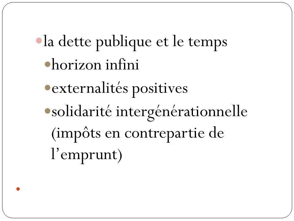 la dette publique et le temps horizon infini externalités positives solidarité intergénérationnelle (impôts en contrepartie de lemprunt)