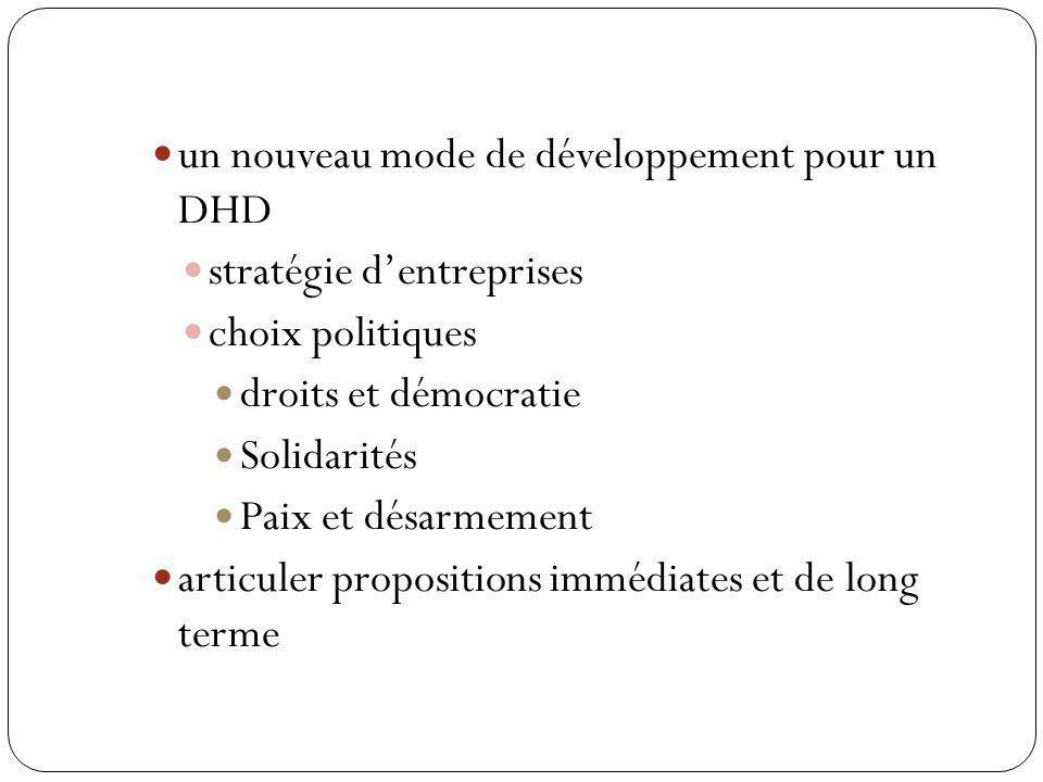 un nouveau mode de développement pour un DHD stratégie dentreprises choix politiques droits et démocratie Solidarités Paix et désarmement articuler propositions immédiates et de long terme