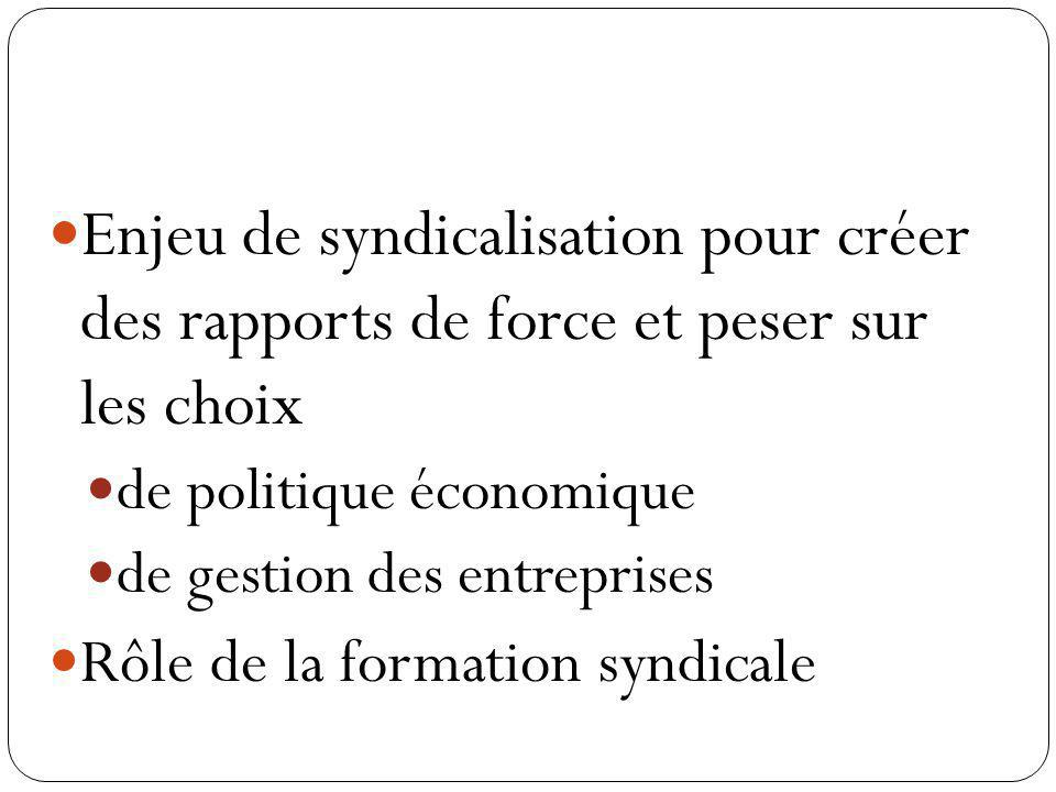 Enjeu de syndicalisation pour créer des rapports de force et peser sur les choix de politique économique de gestion des entreprises Rôle de la formati
