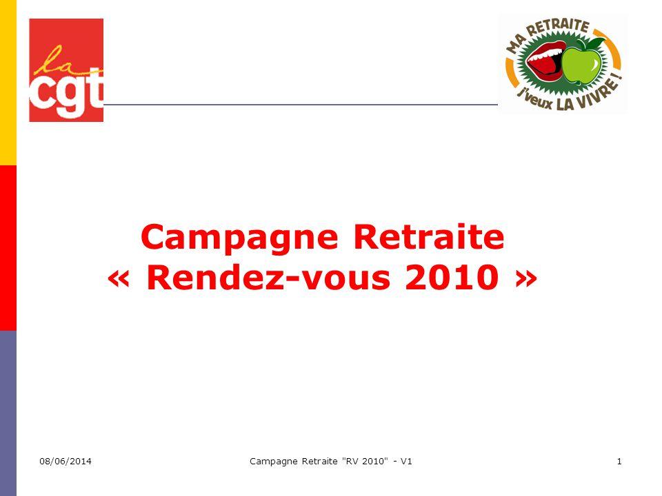 Campagne Retraite RV 2010 - V122 Levier dactions : modification des paramètres Repousser lâge de départ Continuer à augmenter la durée assurance Pilotage automatique à partir du partage du gain despérance de vie Modification du salaire de référence (derniers 6 mois dans la F.