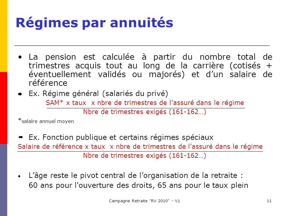 Campagne Retraite RV 2010 - V111 Régimes par annuités La pension est calculée à partir du nombre total de trimestres acquis tout au long de la carrière (cotisés + éventuellement validés ou majorés) et dun salaire de référence Ex.