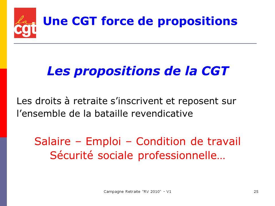 Campagne Retraite RV 2010 - V125 Les propositions de la CGT Les droits à retraite sinscrivent et reposent sur lensemble de la bataille revendicative Salaire – Emploi – Condition de travail Sécurité sociale professionnelle… Une CGT force de propositions