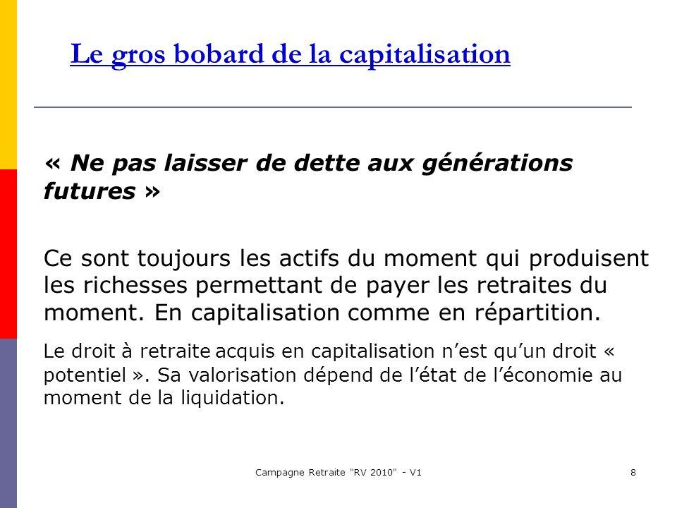 Campagne Retraite RV 2010 - V18 Le gros bobard de la capitalisation « Ne pas laisser de dette aux générations futures » Ce sont toujours les actifs du moment qui produisent les richesses permettant de payer les retraites du moment.
