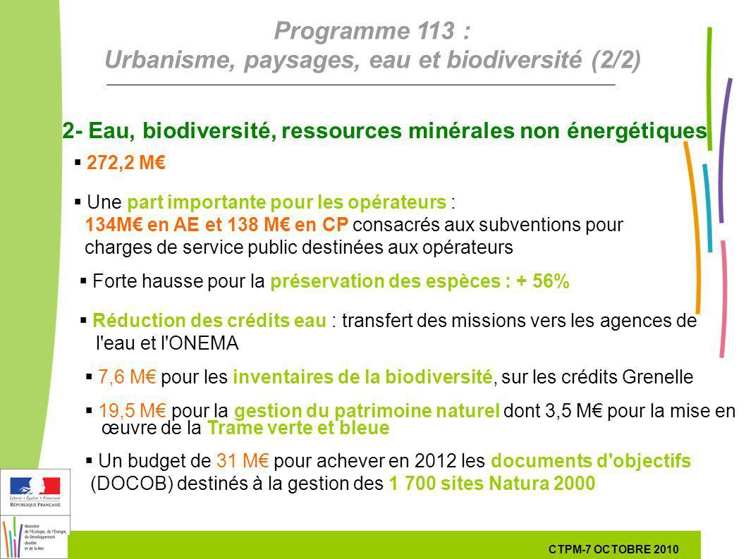 11 11 7 Octobre 201029 septembre 2010 2- Eau, biodiversité, ressources minérales non énergétiques 272,2 M Une part importante pour les opérateurs : 13