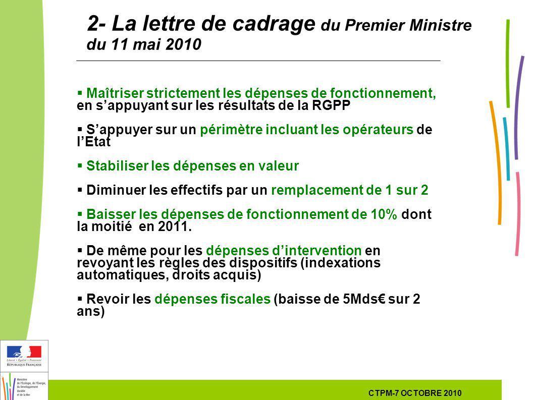 3 3 3 7 Octobre 201029 septembre 2010 2- La lettre de cadrage du Premier Ministre du 11 mai 2010 Maîtriser strictement les dépenses de fonctionnement, en sappuyant sur les résultats de la RGPP Sappuyer sur un périmètre incluant les opérateurs de lEtat Stabiliser les dépenses en valeur Diminuer les effectifs par un remplacement de 1 sur 2 Baisser les dépenses de fonctionnement de 10% dont la moitié en 2011.