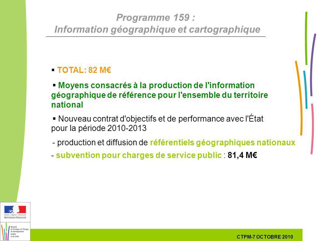 32 32 7 Octobre 201029 septembre 2010 Programme 159 : Information géographique et cartographique TOTAL: 82 M Moyens consacrés à la production de l'inf
