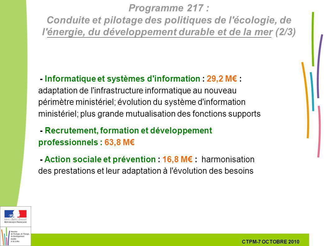 36 36 7 Octobre 201029 septembre 2010 - Informatique et systèmes d'information : 29,2 M : adaptation de l'infrastructure informatique au nouveau périm