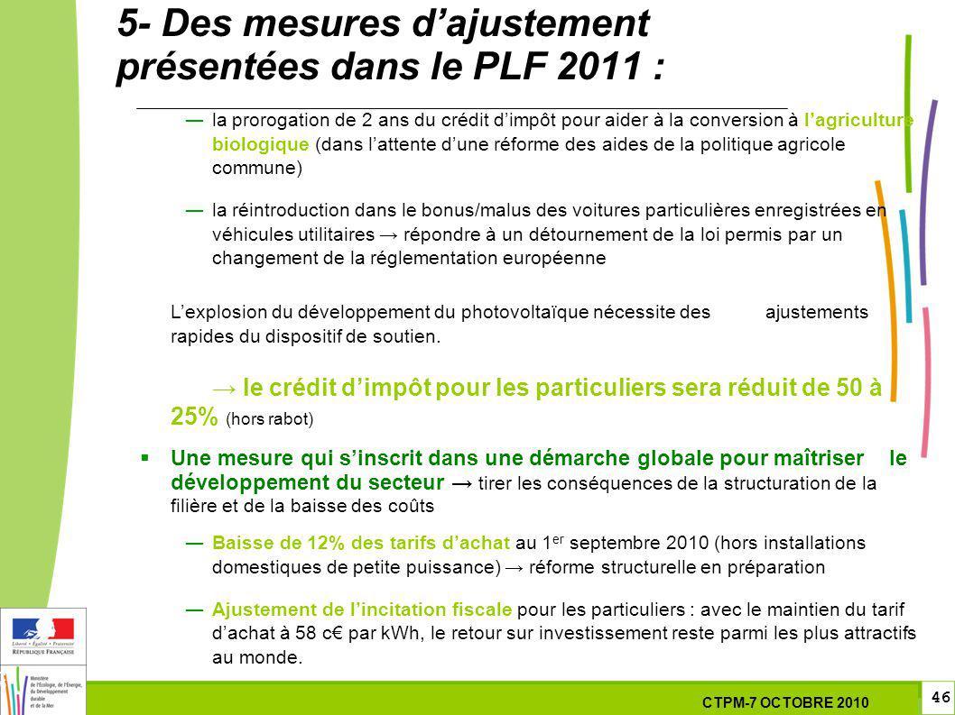 46 46 7 Octobre 201029 septembre 2010 5- Des mesures dajustement présentées dans le PLF 2011 : la prorogation de 2 ans du crédit dimpôt pour aider à l