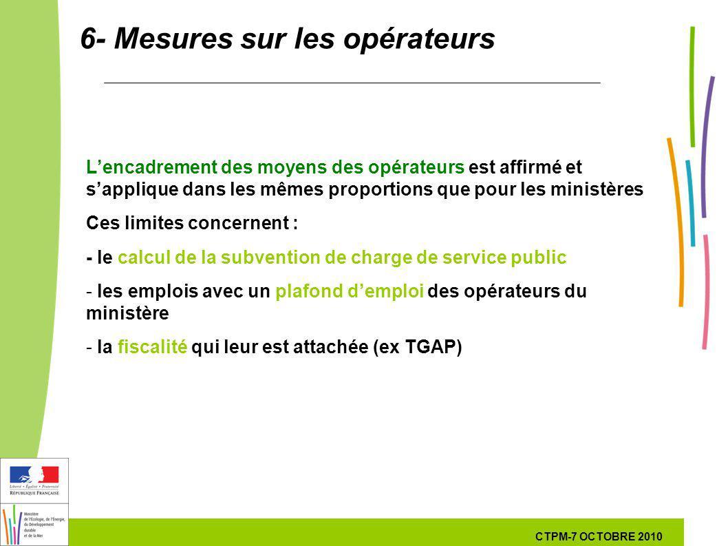 48 48 7 Octobre 201029 septembre 2010 6- Mesures sur les opérateurs Lencadrement des moyens des opérateurs est affirmé et sapplique dans les mêmes pro