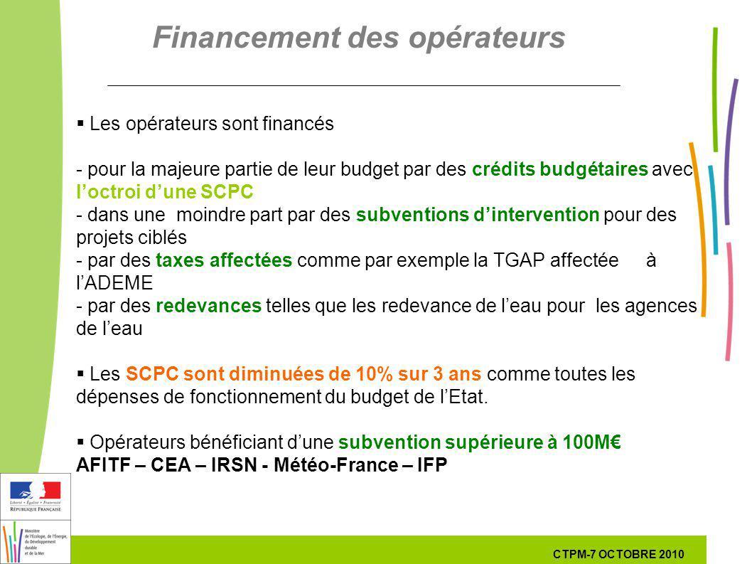 49 49 7 Octobre 201029 septembre 2010 Les opérateurs sont financés - pour la majeure partie de leur budget par des crédits budgétaires avec loctroi dune SCPC - dans une moindre part par des subventions dintervention pour des projets ciblés - par des taxes affectées comme par exemple la TGAP affectée à lADEME - par des redevances telles que les redevance de leau pour les agences de leau Les SCPC sont diminuées de 10% sur 3 ans comme toutes les dépenses de fonctionnement du budget de lEtat.