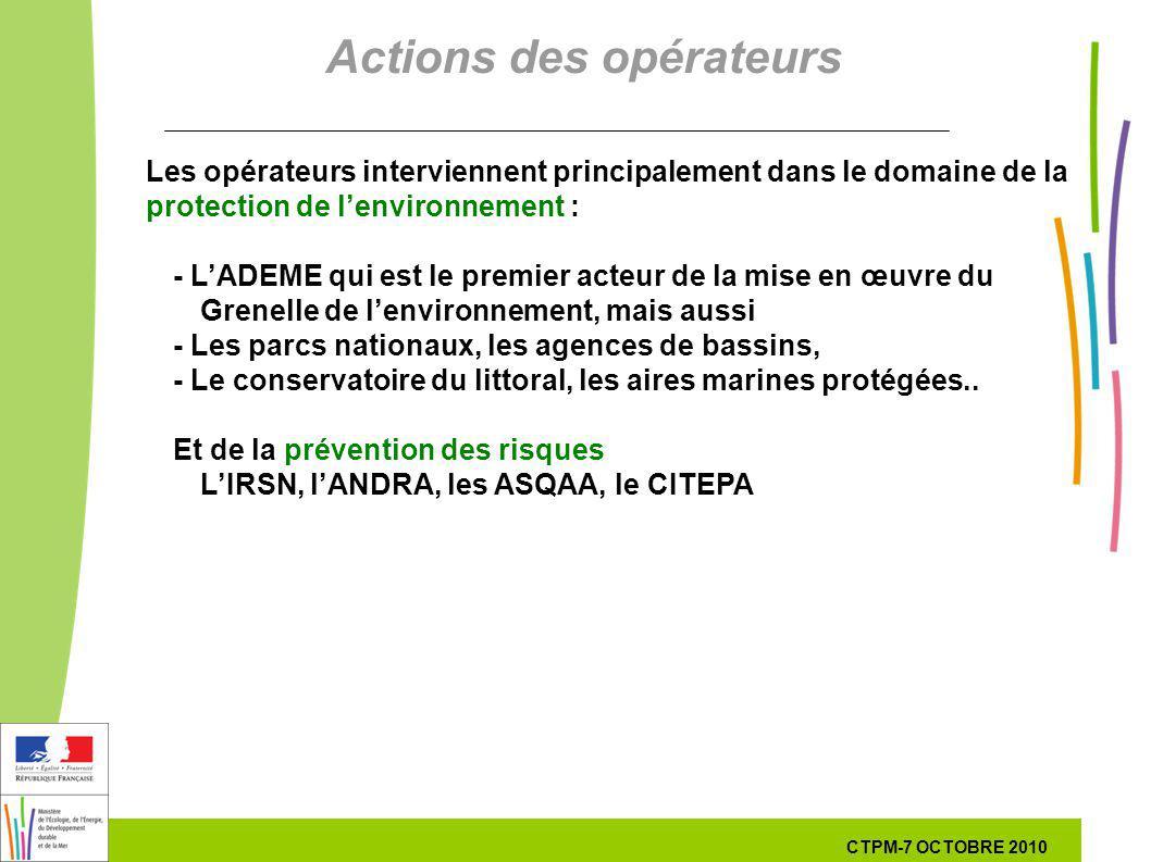 51 51 7 Octobre 201029 septembre 2010 Les opérateurs interviennent principalement dans le domaine de la protection de lenvironnement : - LADEME qui es