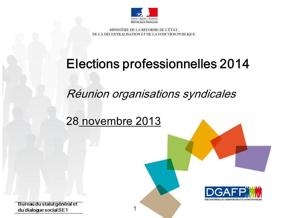 1 Elections professionnelles 2014 Réunion organisations syndicales 28 novembre 2013 Bureau du statut général et du dialogue social SE1