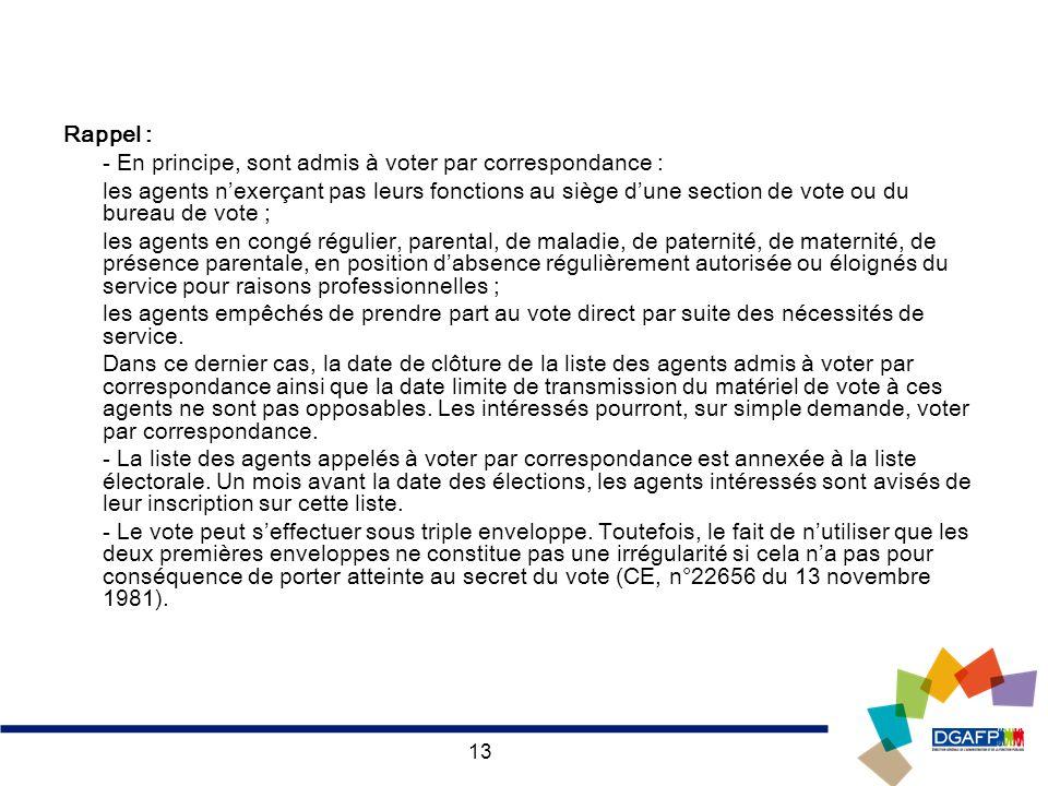 13 Rappel : - En principe, sont admis à voter par correspondance : les agents nexerçant pas leurs fonctions au siège dune section de vote ou du bureau