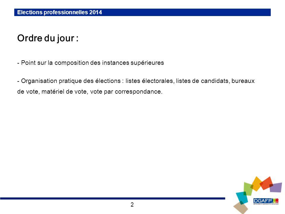 2 Elections professionnelles 2014 Ordre du jour : - Point sur la composition des instances supérieures - Organisation pratique des élections : listes