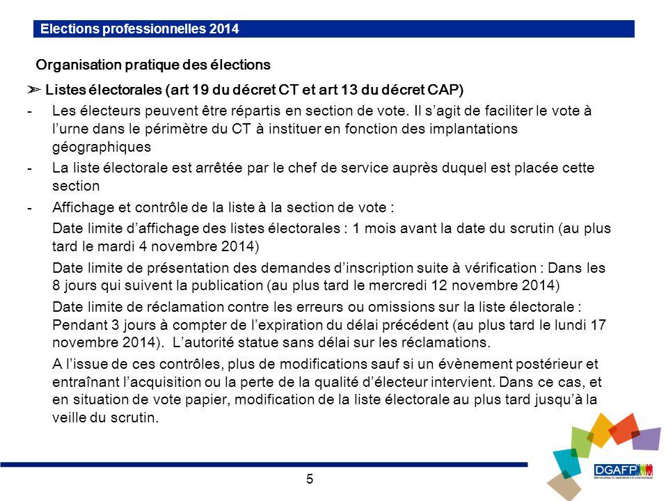 5 Elections professionnelles 2014 Organisation pratique des élections Listes électorales (art 19 du décret CT et art 13 du décret CAP) -Les électeurs