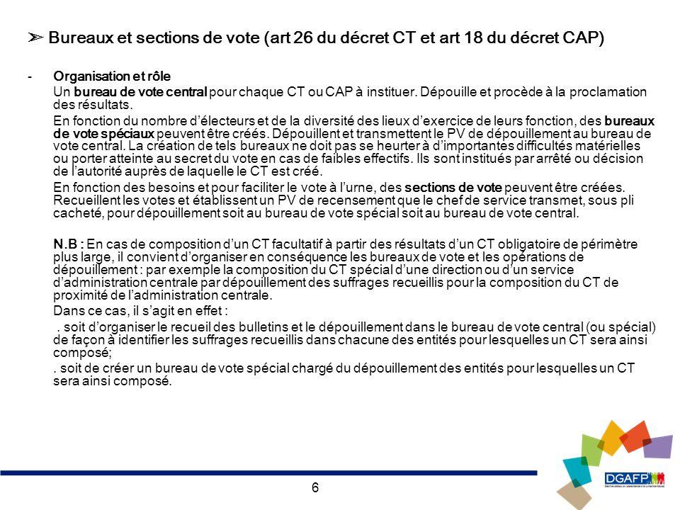 6 Bureaux et sections de vote (art 26 du décret CT et art 18 du décret CAP) -Organisation et rôle Un bureau de vote central pour chaque CT ou CAP à in