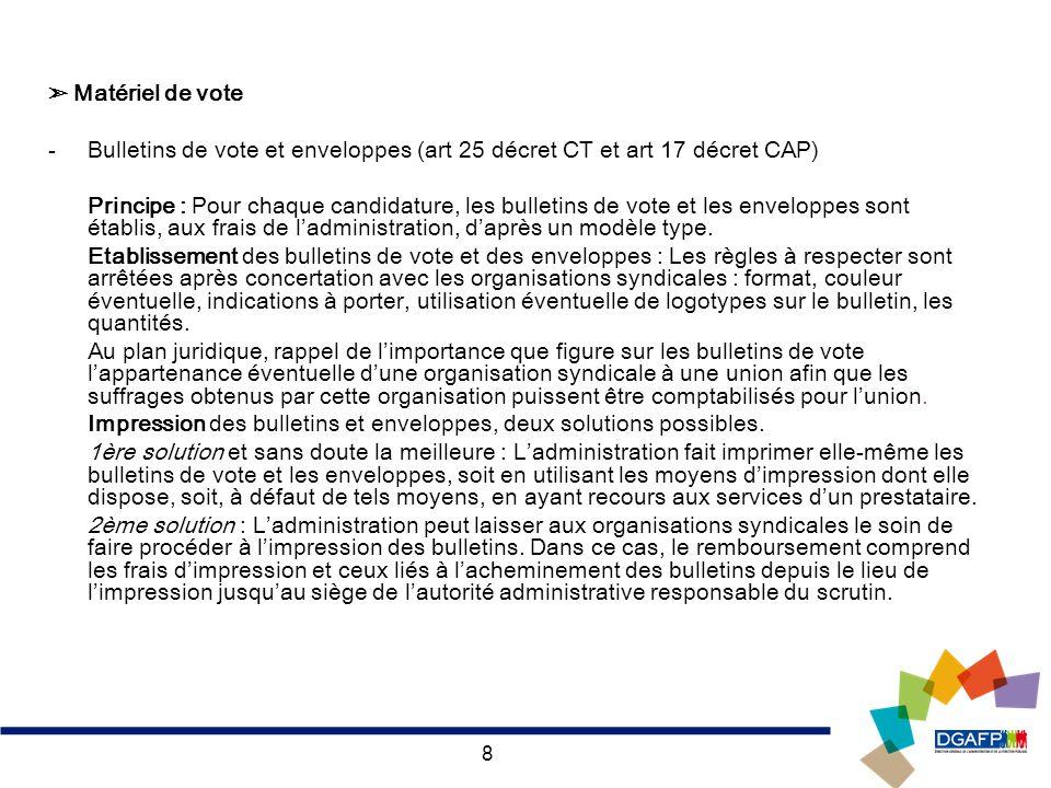 8 Matériel de vote -Bulletins de vote et enveloppes (art 25 décret CT et art 17 décret CAP) Principe : Pour chaque candidature, les bulletins de vote