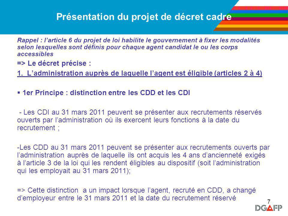 8 Présentation du projet de décret cadre 1.