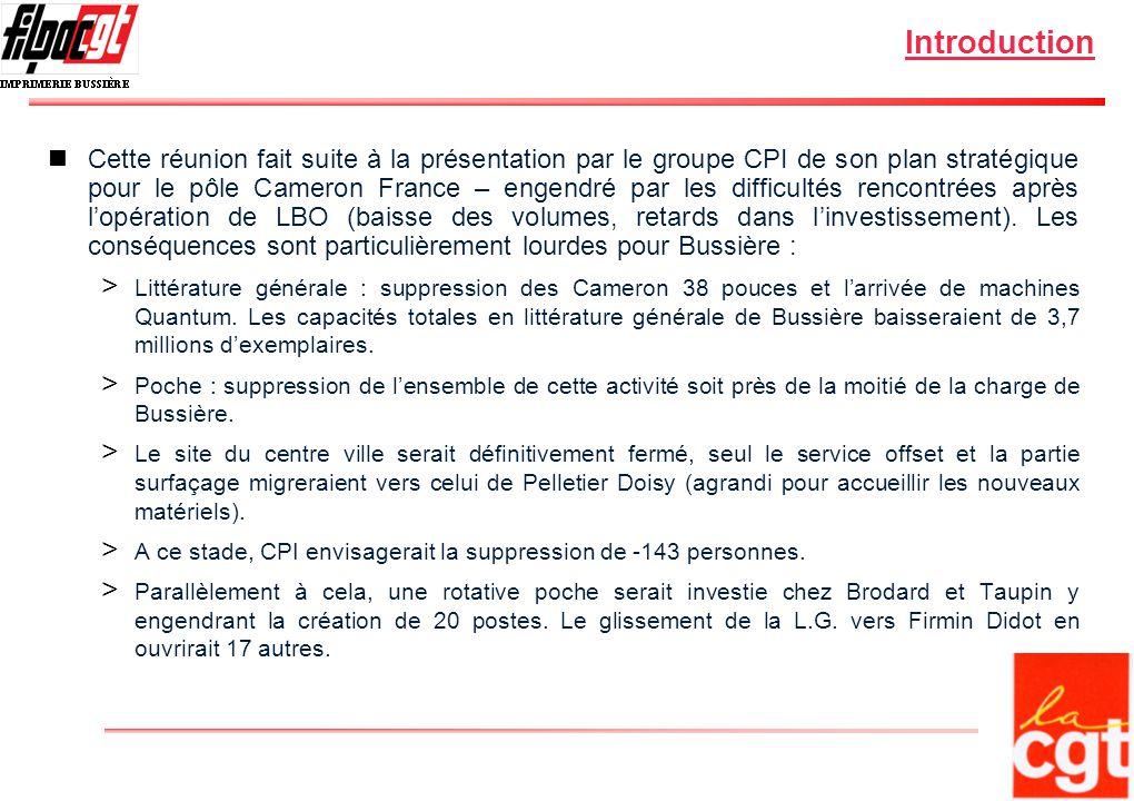 Introduction Cette réunion fait suite à la présentation par le groupe CPI de son plan stratégique pour le pôle Cameron France – engendré par les difficultés rencontrées après lopération de LBO (baisse des volumes, retards dans linvestissement).