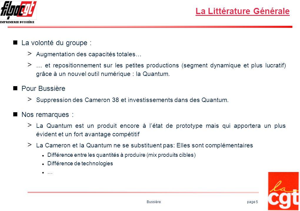 Bussière page 5 La Littérature Générale La volonté du groupe : > Augmentation des capacités totales… > … et repositionnement sur les petites productio