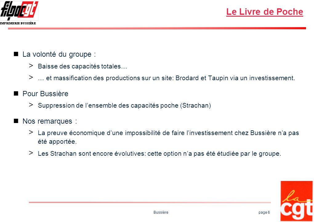 Bussière page 6 Le Livre de Poche La volonté du groupe : > Baisse des capacités totales… > … et massification des productions sur un site: Brodard et Taupin via un investissement.