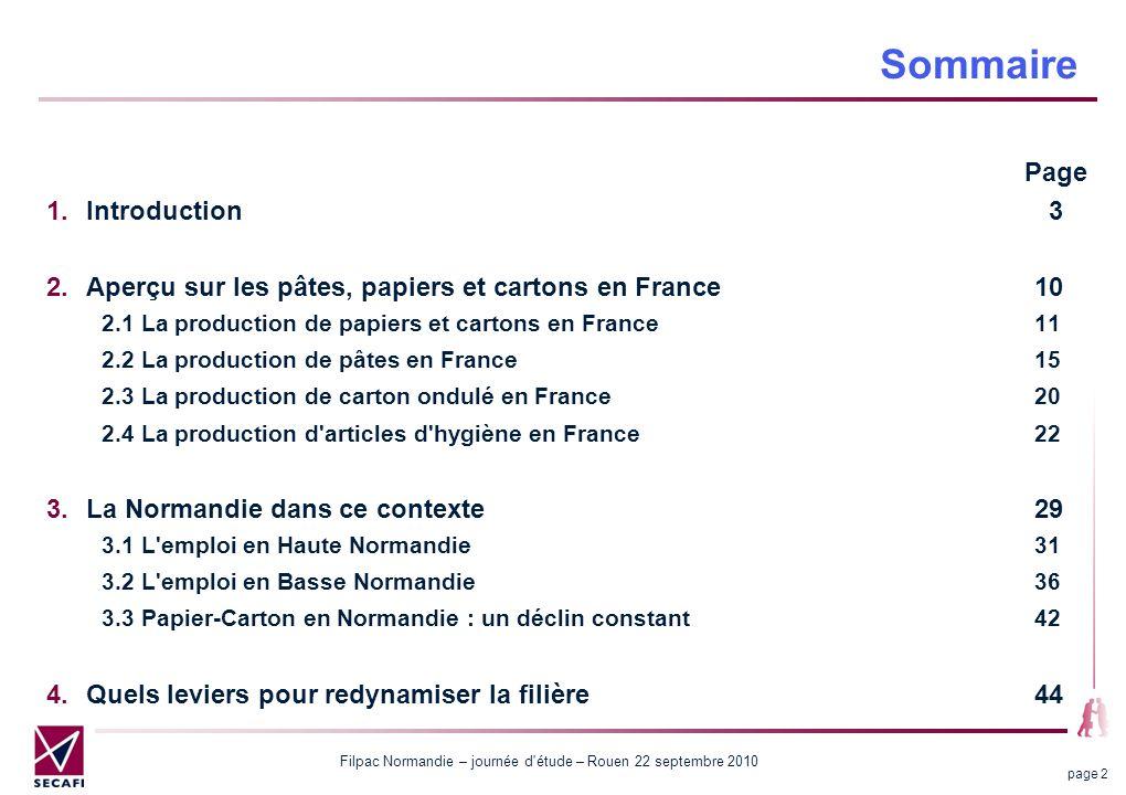 Filpac Normandie – journée d'étude – Rouen 22 septembre 2010 page 2 Sommaire Page Introduction 3 Aperçu sur les pâtes, papiers et cartons en France10