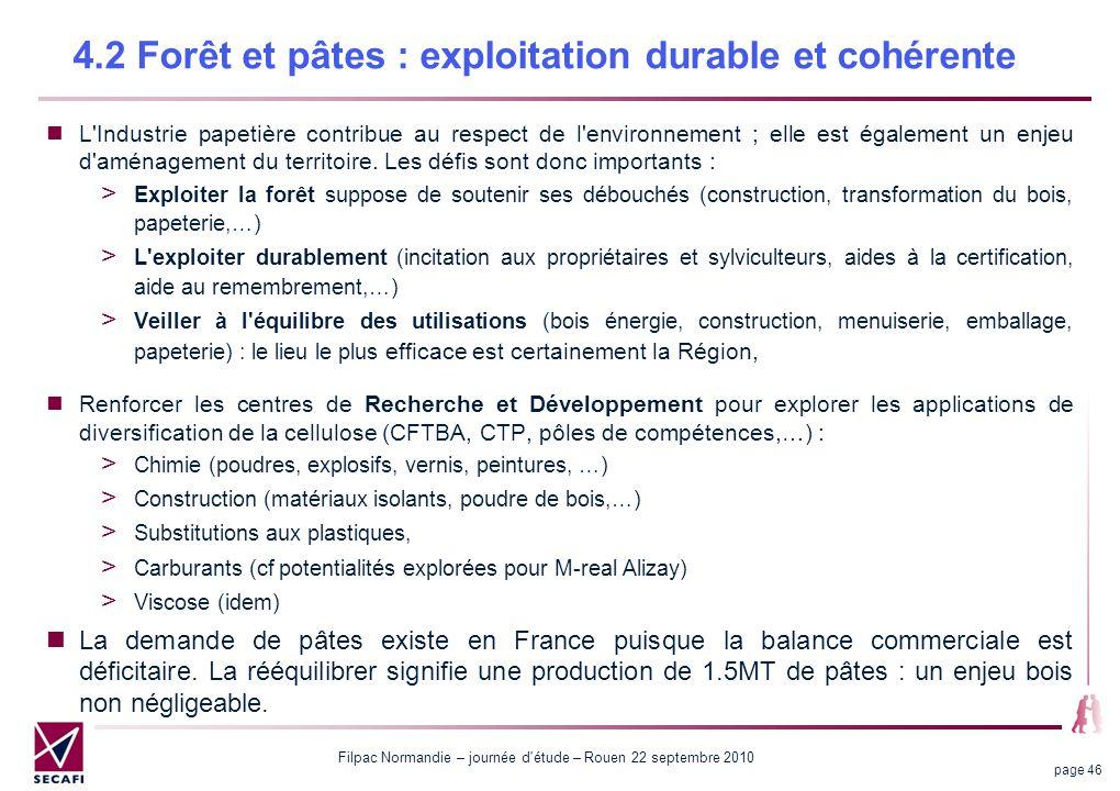 Filpac Normandie – journée d étude – Rouen 22 septembre 2010 page 46 4.2 Forêt et pâtes : exploitation durable et cohérente L Industrie papetière contribue au respect de l environnement ; elle est également un enjeu d aménagement du territoire.