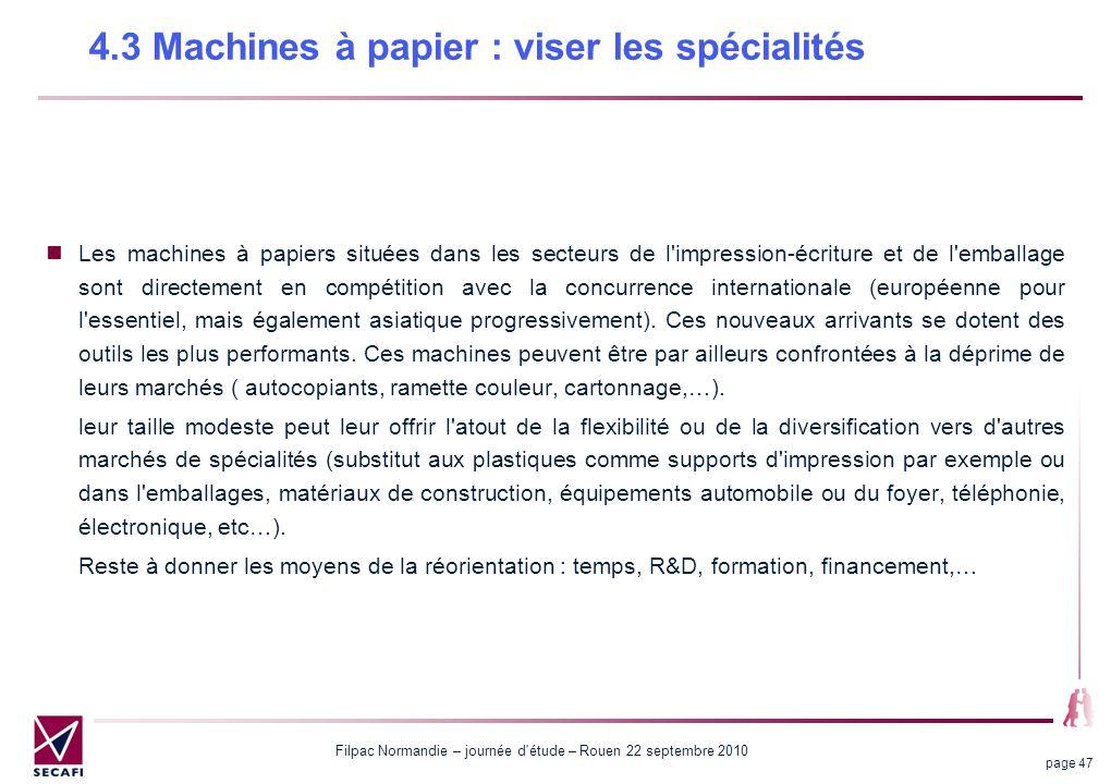 Filpac Normandie – journée d étude – Rouen 22 septembre 2010 page 47 4.3 Machines à papier : viser les spécialités Les machines à papiers situées dans les secteurs de l impression-écriture et de l emballage sont directement en compétition avec la concurrence internationale (européenne pour l essentiel, mais également asiatique progressivement).