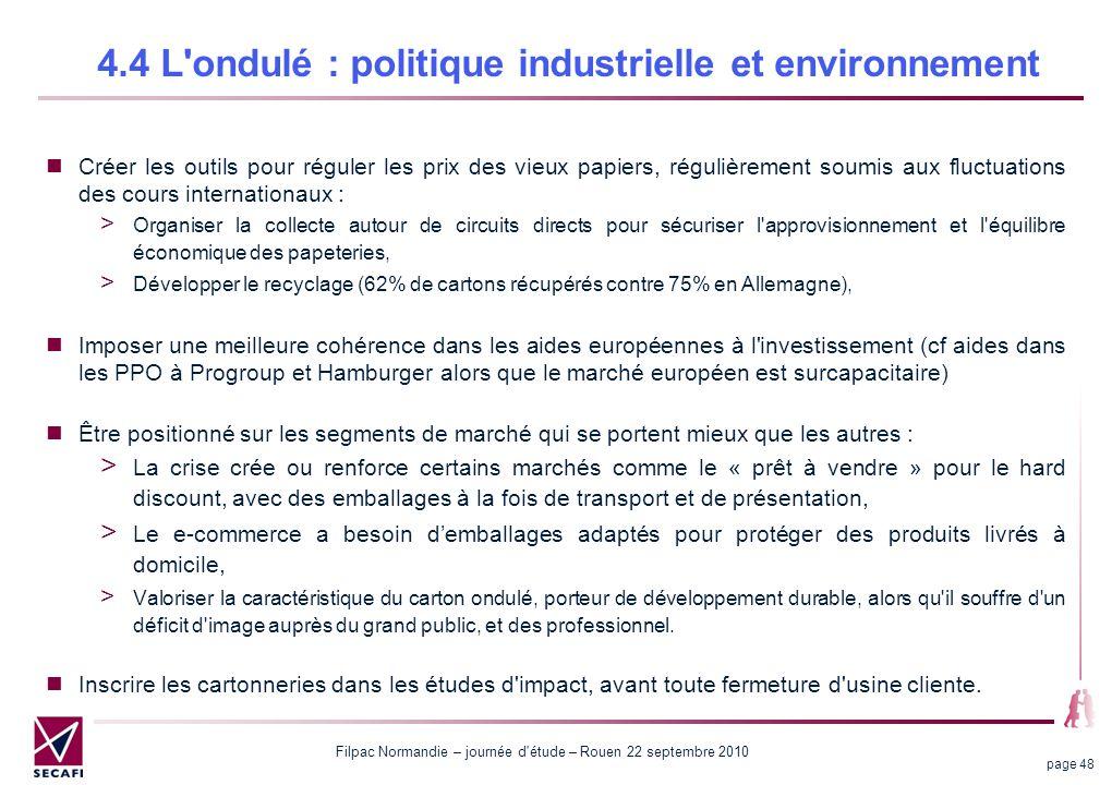 Filpac Normandie – journée d'étude – Rouen 22 septembre 2010 page 48 4.4 L'ondulé : politique industrielle et environnement Créer les outils pour régu