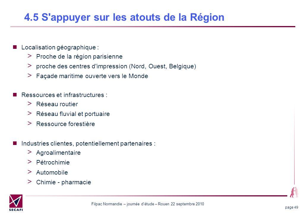 Filpac Normandie – journée d'étude – Rouen 22 septembre 2010 page 49 4.5 S'appuyer sur les atouts de la Région Localisation géographique : Proche de l
