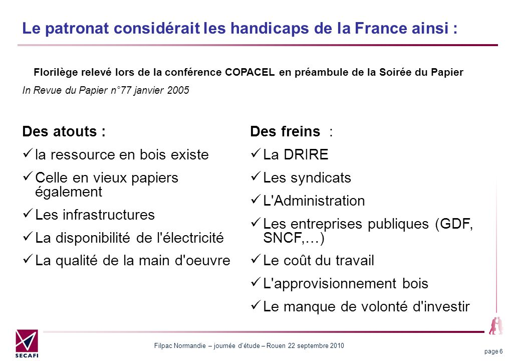 Filpac Normandie – journée d'étude – Rouen 22 septembre 2010 page 6 Le patronat considérait les handicaps de la France ainsi : Des freins : La DRIRE L