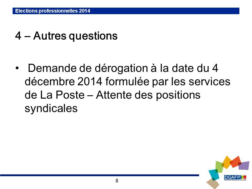 8 Elections professionnelles 2014 4 – Autres questions Demande de dérogation à la date du 4 décembre 2014 formulée par les services de La Poste – Attente des positions syndicales