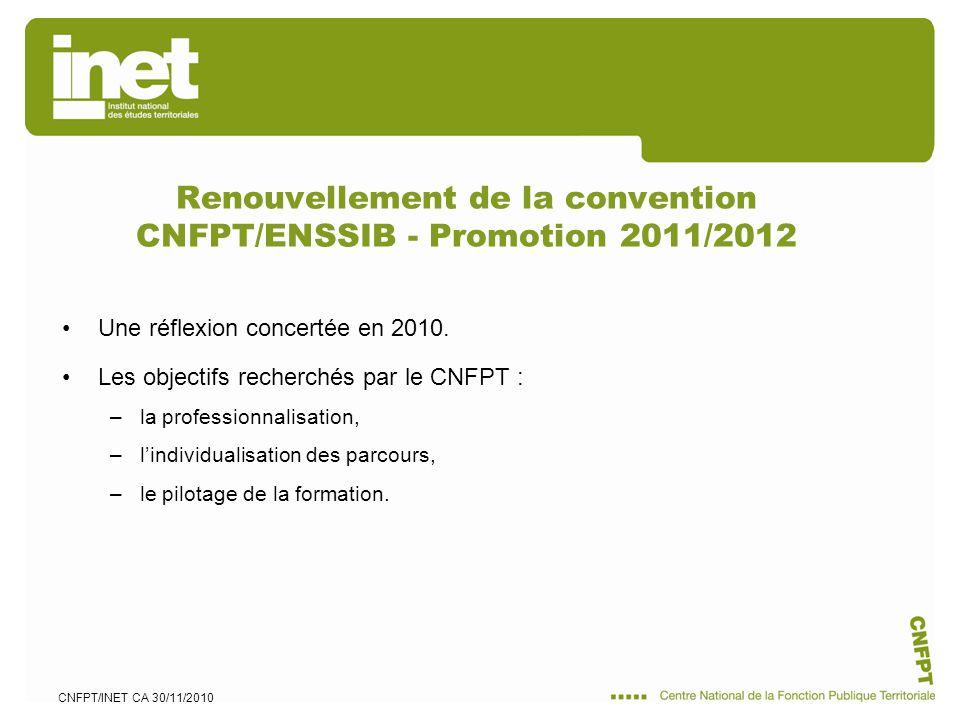 CNFPT/INET CA 30/11/2010 Renouvellement de la convention CNFPT/ENSSIB - Promotion 2011/2012 Une réflexion concertée en 2010. Les objectifs recherchés