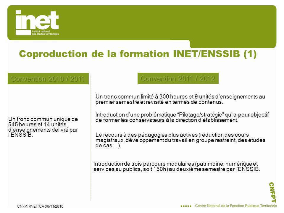 CNFPT/INET CA 30/11/2010 Coproduction de la formation INET/ENSSIB (1) Un tronc commun limité à 300 heures et 9 unités denseignements au premier semestre et revisité en termes de contenus.