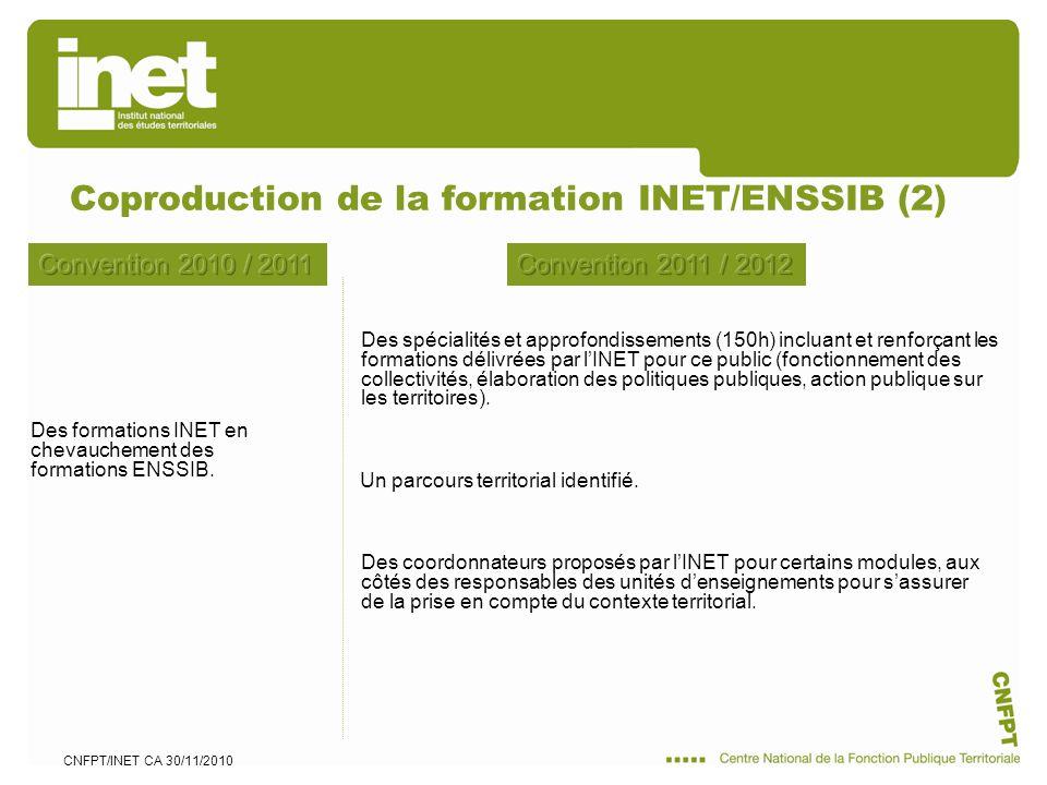 CNFPT/INET CA 30/11/2010 Des formations INET en chevauchement des formations ENSSIB. Coproduction de la formation INET/ENSSIB (2) Un parcours territor