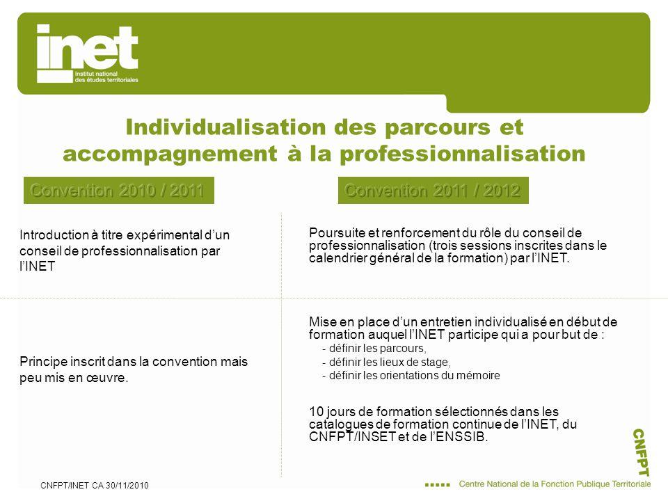 CNFPT/INET CA 30/11/2010 Individualisation des parcours et accompagnement à la professionnalisation Mise en place dun entretien individualisé en début