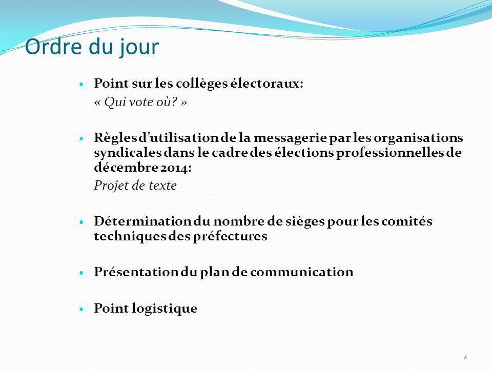 Ordre du jour Point sur les collèges électoraux: « Qui vote où? » Règles dutilisation de la messagerie par les organisations syndicales dans le cadre