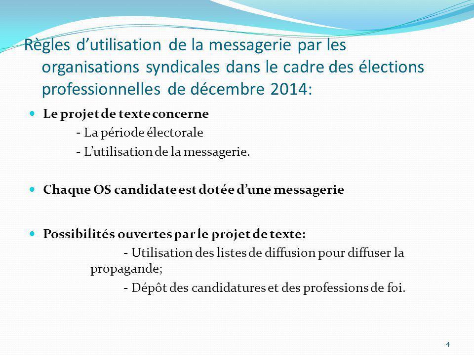 Règles dutilisation de la messagerie par les organisations syndicales dans le cadre des élections professionnelles de décembre 2014: Le projet de text
