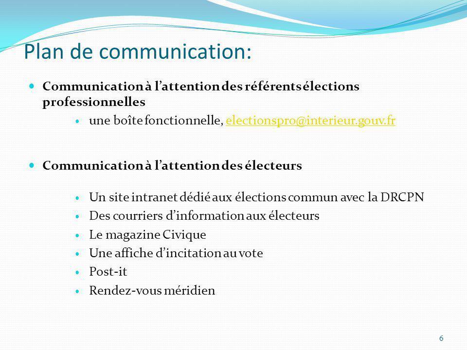 Plan de communication: Communication à lattention des référents élections professionnelles une boîte fonctionnelle, electionspro@interieur.gouv.frelec