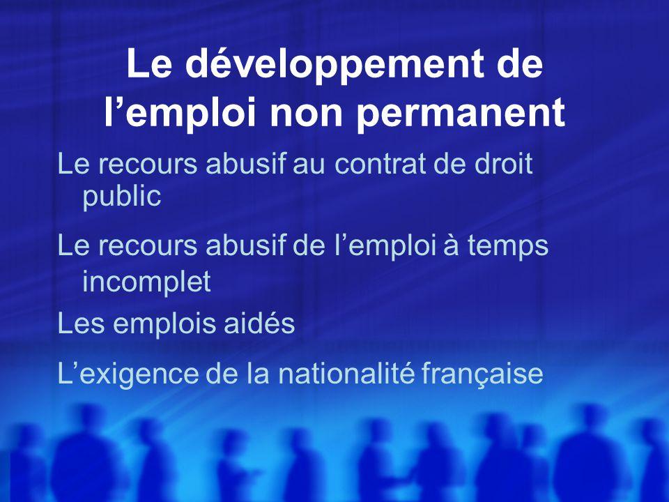 Le développement de lemploi non permanent Le recours abusif au contrat de droit public Le recours abusif de lemploi à temps incomplet Les emplois aidés Lexigence de la nationalité française