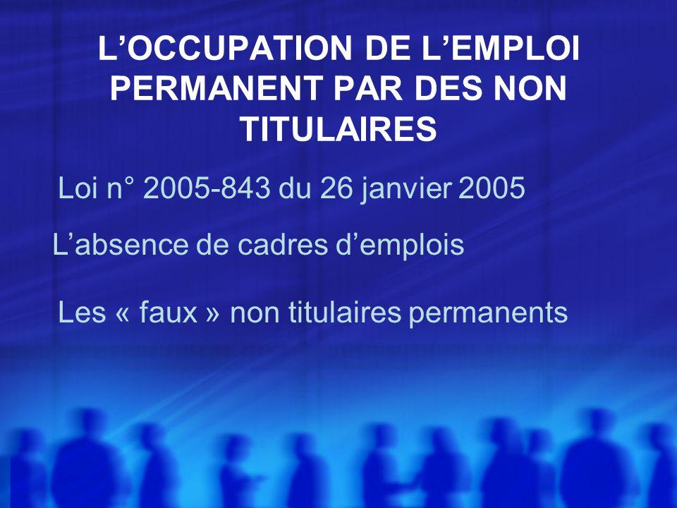 LOCCUPATION DE LEMPLOI PERMANENT PAR DES NON TITULAIRES Loi n° 2005-843 du 26 janvier 2005 Labsence de cadres demplois Les « faux » non titulaires permanents