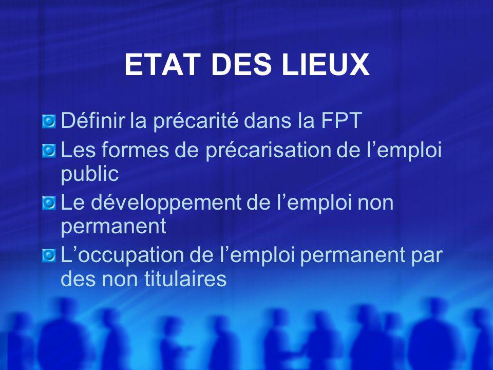 ETAT DES LIEUX Définir la précarité dans la FPT Les formes de précarisation de lemploi public Le développement de lemploi non permanent Loccupation de lemploi permanent par des non titulaires